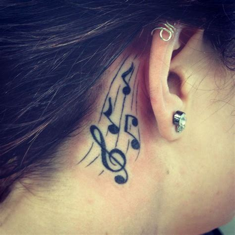 music note tattoo behind ear notes the ear tattooes
