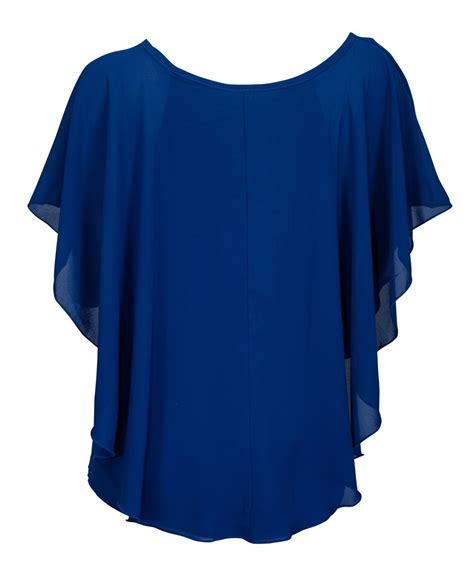 Chiffon Crop Top Royal Blue Size S Belakang Karet plus size layered chiffon top royal blue evogues apparel