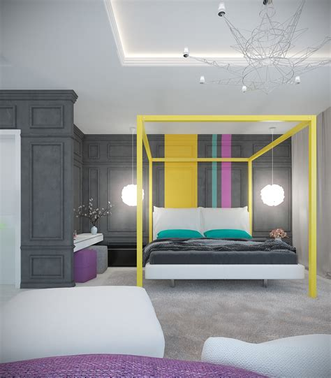 purple and yellow bedroom a pair of modern homes with distinctively bright color themes