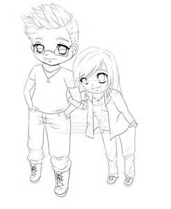 chibi couple line art by staudensellerie on deviantart sketch template
