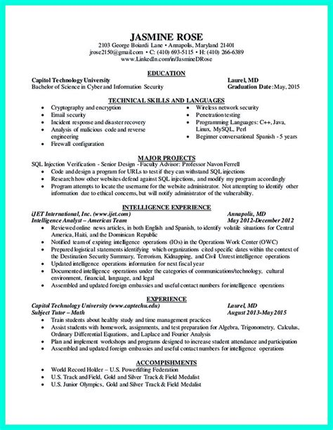 Cyber Security Resume by 2695 Best Images About Resume Sle Template And Format