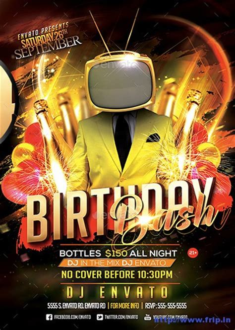 30 best birthday bash flyer print templates frip in