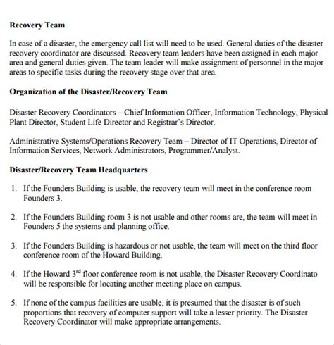 disaster recovery plans template sle disaster recovery plan template 7 free
