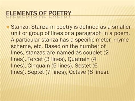 section of a poem basic elements of poetry