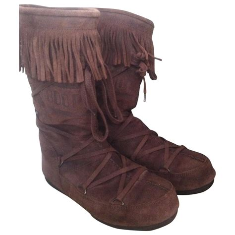 brown suede moon boot ankle boots vestiaire collective