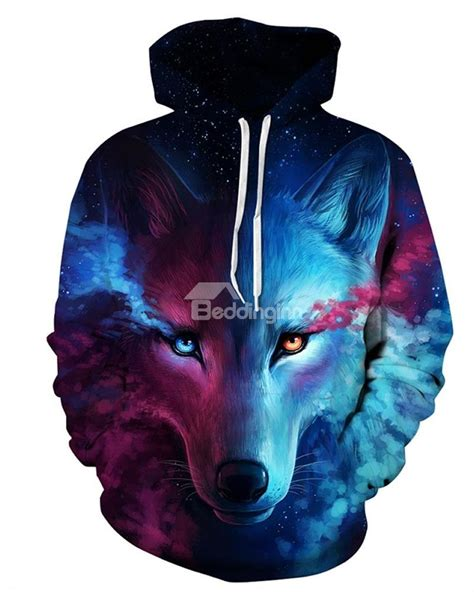sleeve wolf color block blue 3d pattern