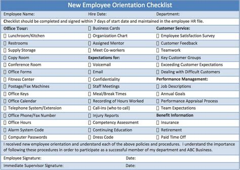 new hire checklist template simple new employee orientation