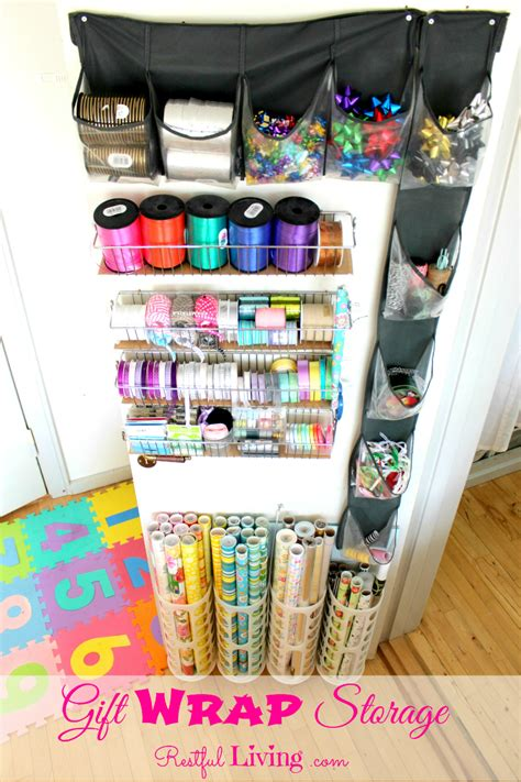 How To Wrap A For Storage by 33 Ways To Organize Your Gift Wrapping Essentials