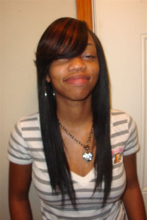 sew in straight sew in hairstyles with side bangs places to