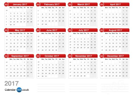 1 Page Calendar 2017 Calendar 2017 Without Holidays Landscape Format 1 Page