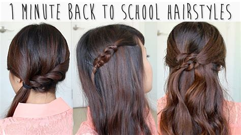 school hairstyles for medium hair easy 1 minute back to school hairstyles for medium hair tutorial