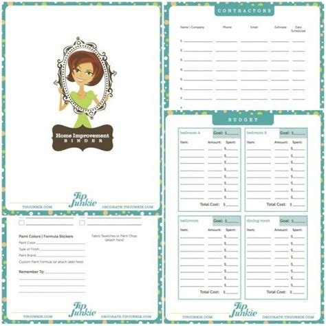 home improvement binder perfect for keeping track of