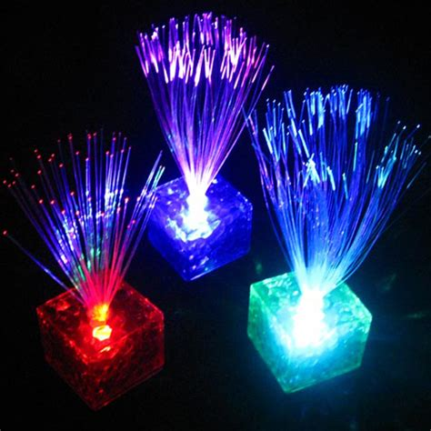 color changing night light 7 color changing optical fiber flashing led cube night