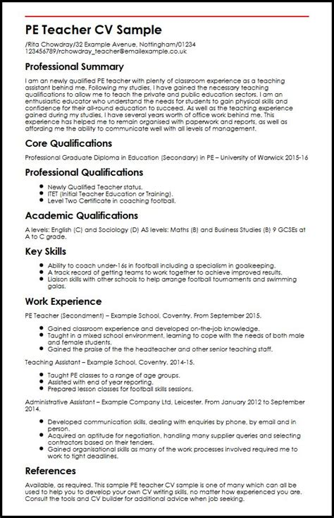 Curriculum Vitae Sles For Teachers Pdf Pe Cv Sle Myperfectcv