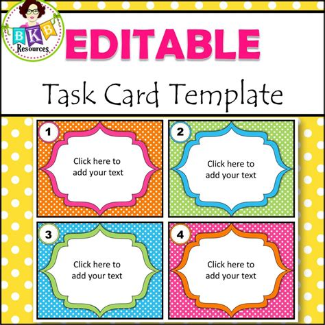 Lynette Task Card Template by Editable Task Card Templates Bkb Resources