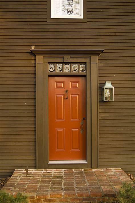 Orange Front Door With Slanted Roof Entry Midcentury And Orange Front Door