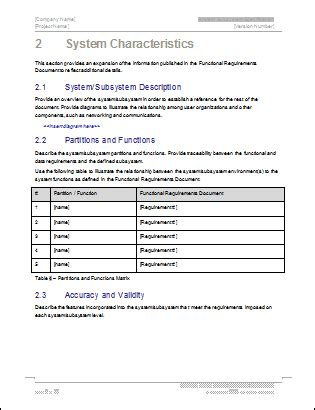 System Subsystem Specification Template It Documentation Templates