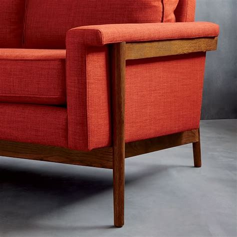 loveseat wood frame leon wood frame loveseat 68 quot west elm