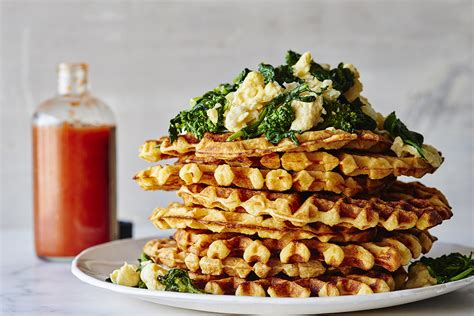 top 40 waffle recipes the yummiest savory and sweet waffles books cheddar waffles with garlicky broccoli rabe scrambled