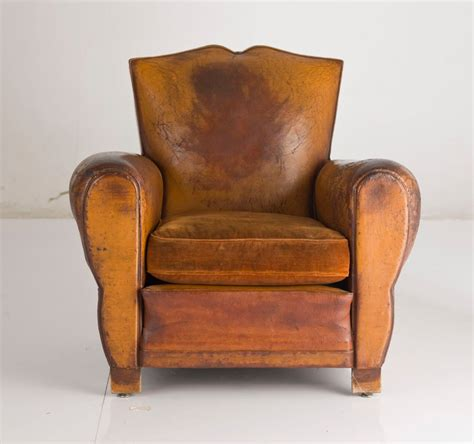 club armchair leather french deco leather club chair at 1stdibs