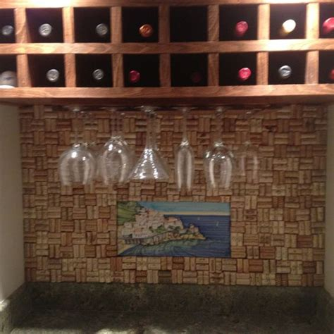 wine cork backsplash nailed a of plywood to the