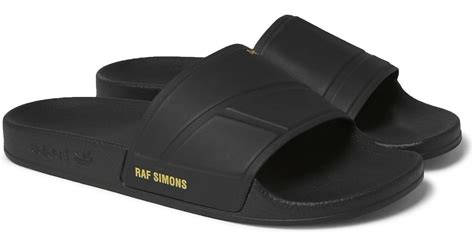 Adidas Rubber Black lyst raf simons adidas bunny adilette printed rubber slides in black for