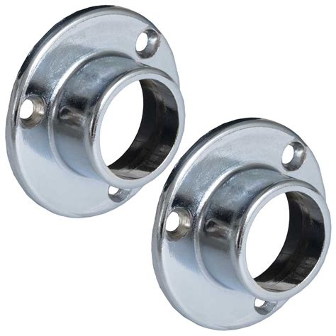 Closet Rod Flanges by Fixed Rod Flanges Chrome Set Of 2 In Closet Rods