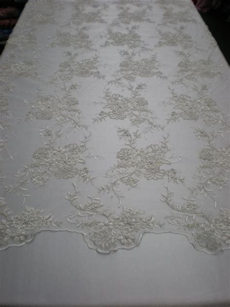 white beaded lace mesh with embroidery white beaded lace by fabric universe
