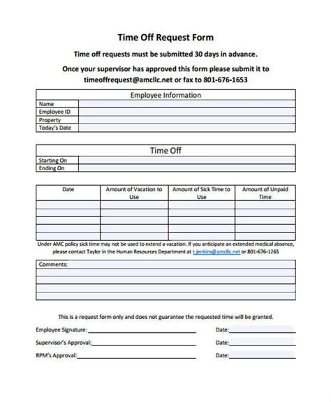 outlook template form 25 time request forms
