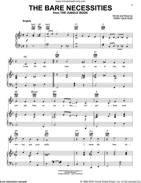 printable lyrics bare necessities gilkyson the bare necessities sheet music for voice