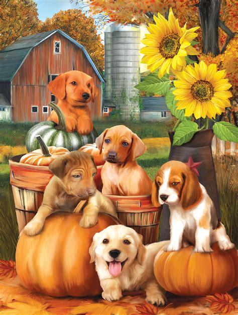 autumn puppies jigsaw puzzle puzzlewarehousecom