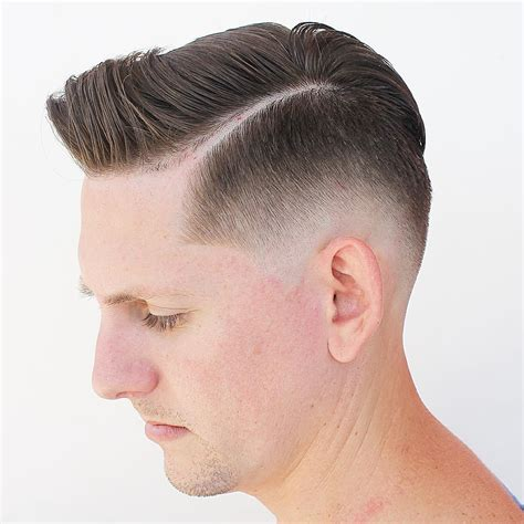 a medium haircut with side part and tapered in the back image gallery low fade
