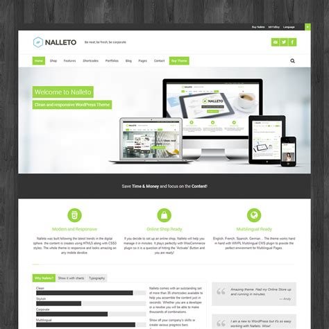 nalleto wp responsive corporate wordpress theme with e