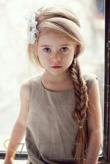 Beautiful Little Girls Hairstyles For Long Hair | beautiful little girl with a long blonde braid and a white