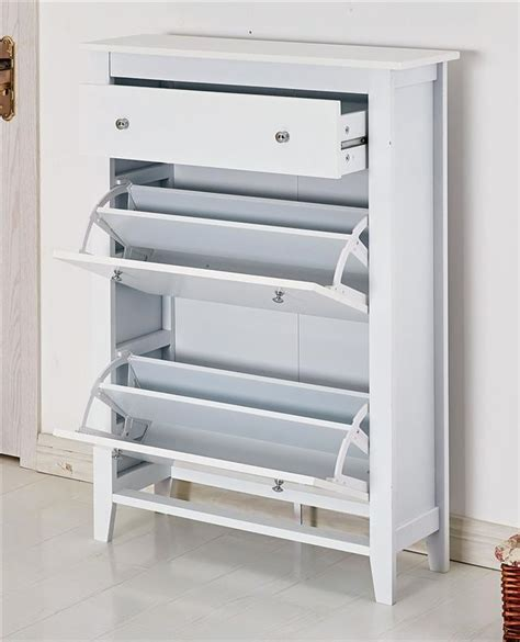 shoe storage wood cabinet cupboard rack deluxe with storage drawer in white ebay
