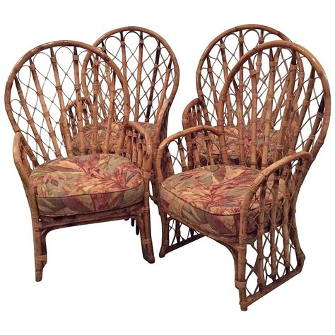 Faux Wicker Patio Furniture Rattan Wicker Arm Dining Chairs Vintage Set Of 4 Faux Bamboo Palm Patio For Sale At 1stdibs