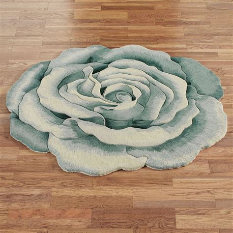 Rosemarie Teal Blue Flower Shaped Rugs Flower Rug