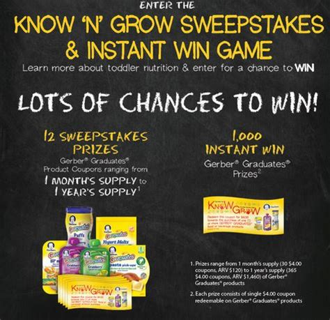 Instant Win Sweeps - gerber know n grow instant win sweepstakes over 1000 prizes