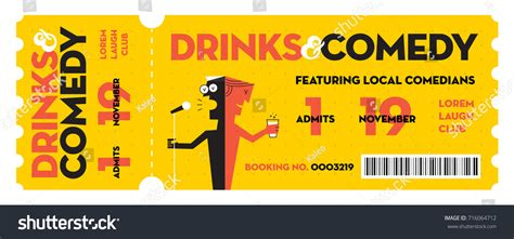 Stand Comedy Show Entry Ticket Modern Stock Vector 716064712 Shutterstock Comedy Show Ticket Template