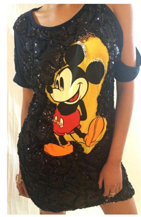 Dress Micky dress sequin dress black dress mickey mouse