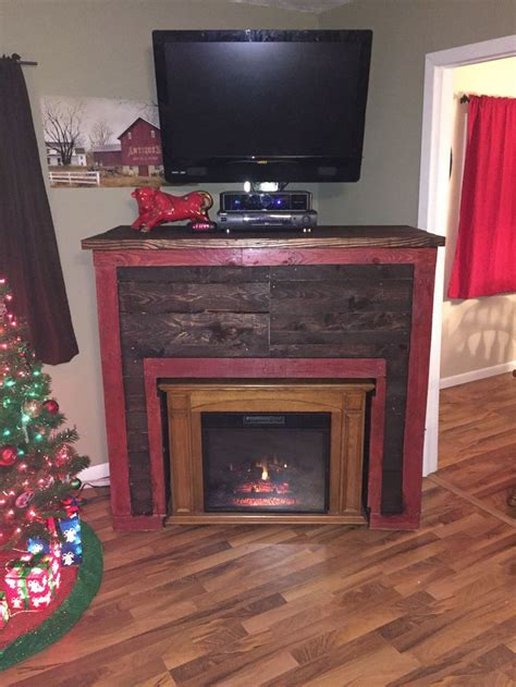 entertainment tv stand faux fireplace from recycled