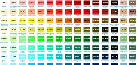 tavola colori html tabella colori esadecimali