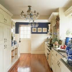 blue and white galley kitchen kitchen design