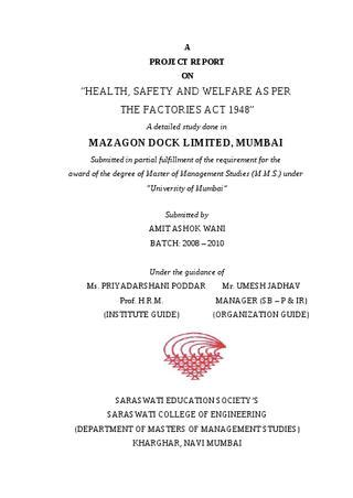 project report  health safety  welfare    factories act   sanjay gupta