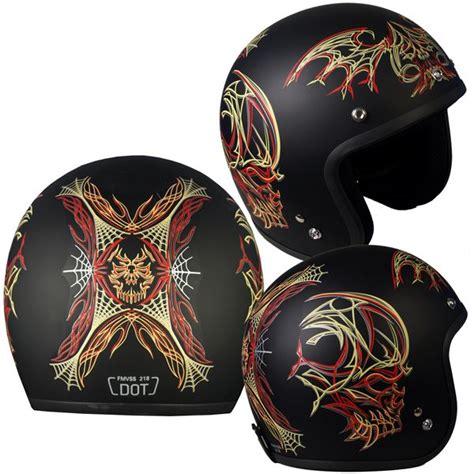 design striping helm hot leathers vintage pinstripe motorcycle helmet