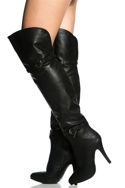 black faux leather the knee high heel boots cicihot