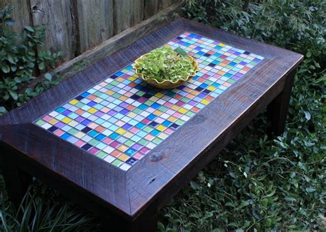 coffee table with tile inlay mid century modern rosewood coffee table w painted tile