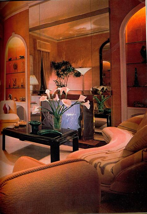 peach  living room retro interior design