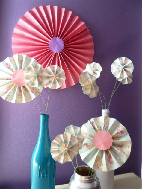 Origami Centerpieces - accordion origami paper flower centerpiece decoration
