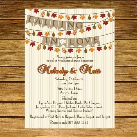 Fall In Bridal Shower Invitations by Falling In Wedding Shower Fall Leaves